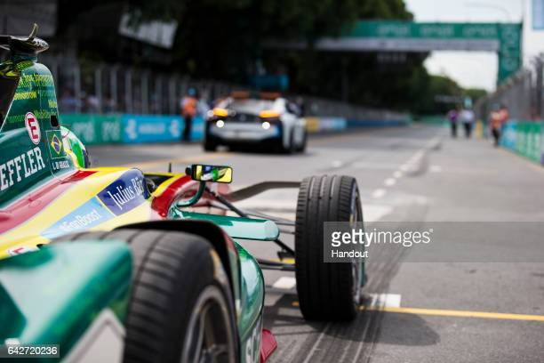 In this handout image provided by Formula E Lucas Di Grassi ABT Schaeffler Audi Sport SparkAbt Sportsline ABT Schaeffler FE02 during the FIA Formula...