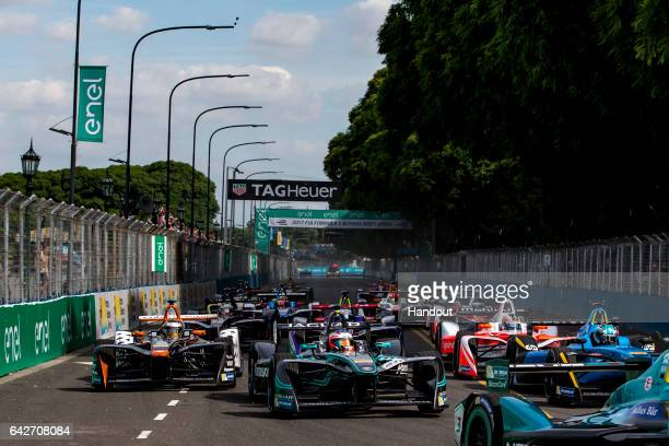 In this handout image provided by Formula E Mitch Evans Lap 1 during the Buenos Aires ePrix third round of the 2016/17 FIA Formula E Series on...