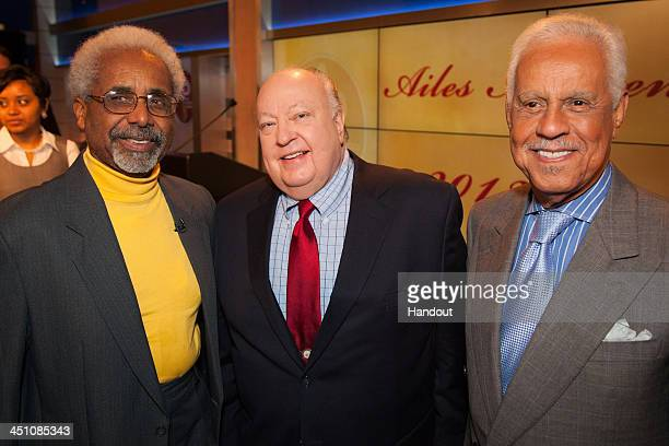 In this handout image provided by FOX News Channel FOX News Chairman and CEO Roger Ailes as well as featured keynote speakers Roy Eaton advertising...