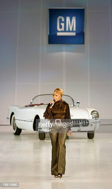 In this handout image provided by General Motors singer Mary J Blige performs next to a 1953 Chevrolet Corvette during the General Motors Style event...