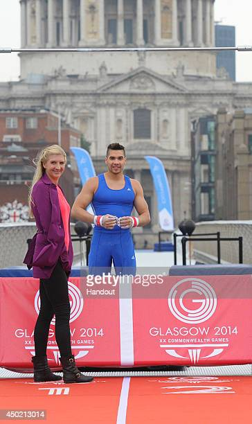 In this handout image provided by Glasgow 2014 Ltd Olympic athletes and 2014 Commonwealth Games ambassadors Rebecca Adlington and Louis Smith are...