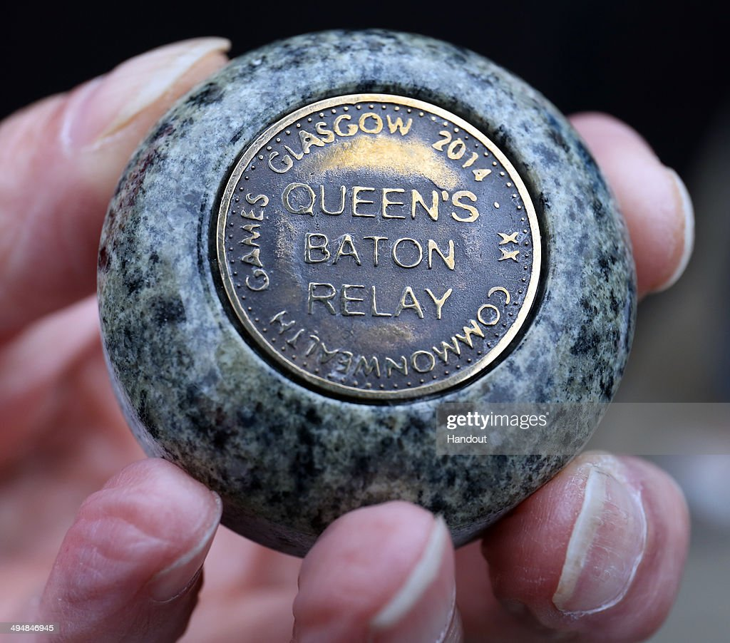 In this handout image provided by Glasgow 2014 Ltd, The granite Eilsa Craig gem stone from the top of the Queen's Baton that was gifted to Wales at the end of the Welsh leg of the Glasgow 2014 Baton Relay on May 30, 2014 in Moel Famau, Wales. Wales is nation 68 of 70 nations and territories the Queen's Baton will visit.