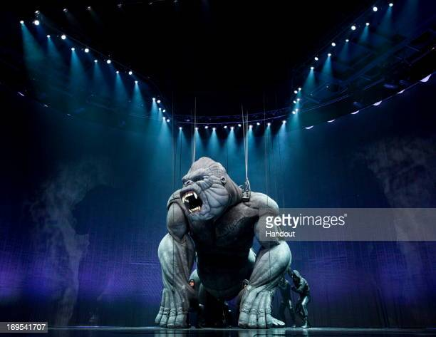 In this handout image provided by Global Creatures King Kong performs on stage during a 'King Kong' Production media call at the Regent Theatre on...