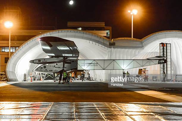 In this handout image provided by Global Newsroom Solar Impulse 2 a solar power plane getting ready to take off from Nagoya Komaki airport tonight at...