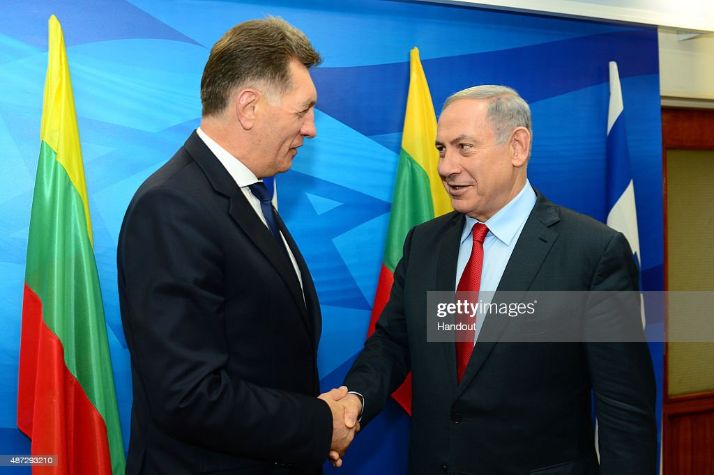 In this handout image provided by GPO, Prime Minister Benjamin Netanyahu meets with Lithuanian Prime Minister, Algirdas Butkevicius on September 08, 2015 in Jerusalem, Israel.
