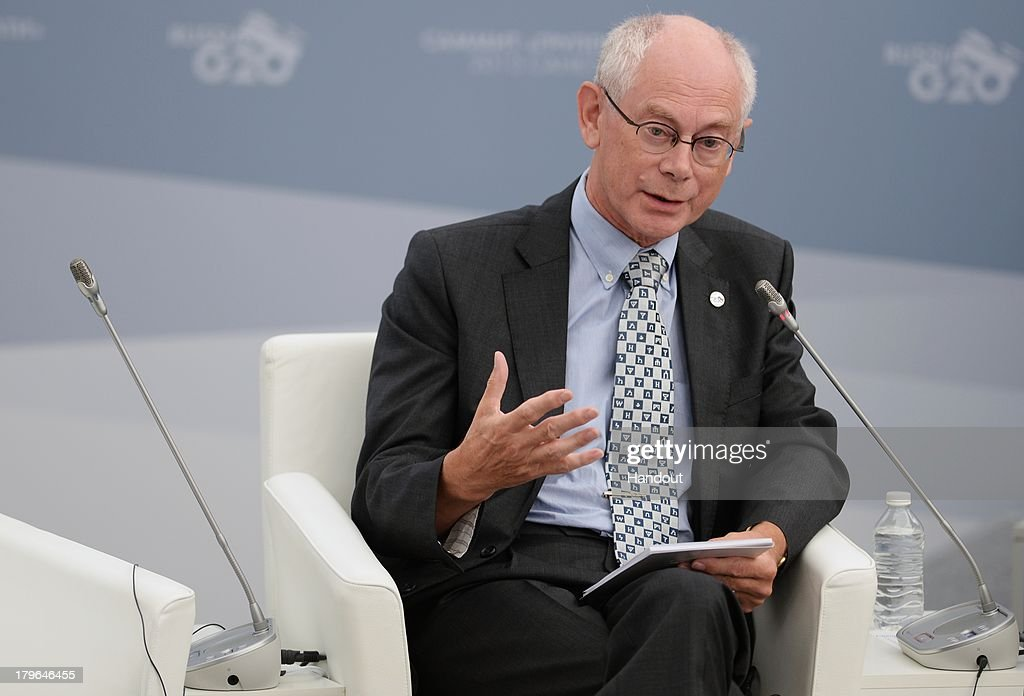 In this handout image provided by Host Photo Agency, Chairman of the European Council <a gi-track='captionPersonalityLinkClicked' href=/galleries/search?phrase=Herman+Van+Rompuy&family=editorial&specificpeople=4476281 ng-click='$event.stopPropagation()'>Herman Van Rompuy</a> attends a meeting with Business 20 and Labour 20 representatives at the G20 Summit on September 6, 2013 in St. Petersburg, Russia. Leaders of the G20 nations made progress on tightening up on multinational company tax avoidance, but remain divided over the Syrian conflict as they enter the final day of the Russian summit.