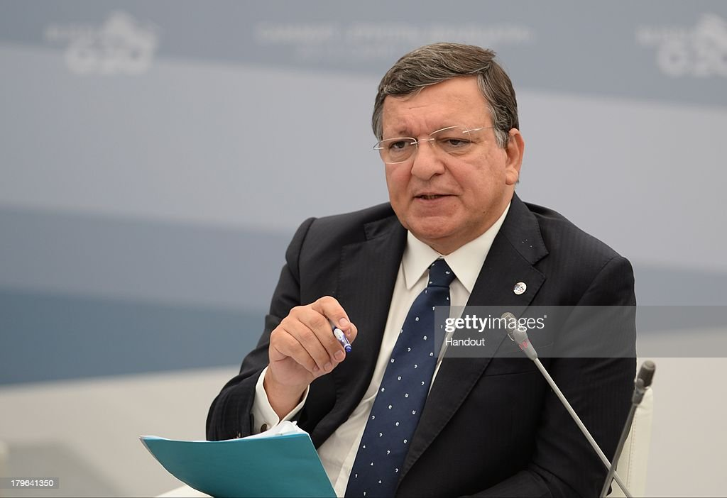 In this handout image provided by Host Photo Agency, European Commission President Jose Manuel Barroso attends a meeting with Business 20 and Labour 20 representatives at the G20 Summit on September 6, 2013 in St. Petersburg, Russia. Leaders of the G20 nations made progress on tightening up on multinational company tax avoidance, but remain divided over the Syrian conflict as they enter the final day of the Russian summit.