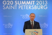 In this handout image provided by Host Photo Agency President of Russia Vladimir Putin helds a press conference on the outcomes of the G20 Leaders'...
