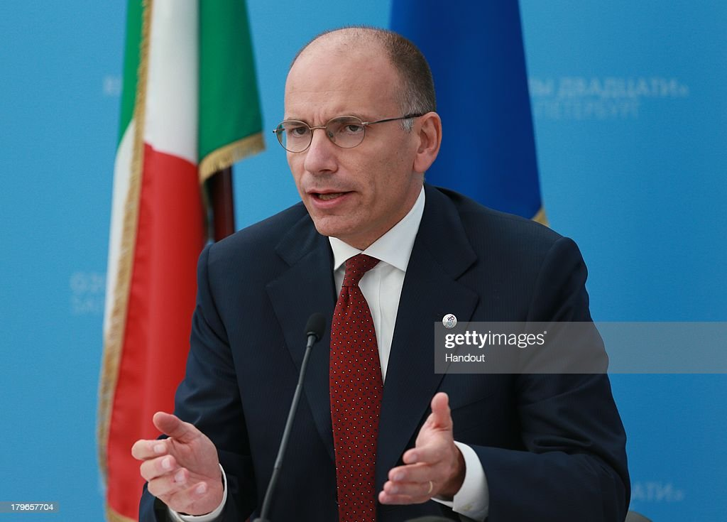 In this handout image provided by Host Photo Agency, Prime Minister of Italy <a gi-track='captionPersonalityLinkClicked' href=/galleries/search?phrase=Enrico+Letta&family=editorial&specificpeople=2915592 ng-click='$event.stopPropagation()'>Enrico Letta</a> speaks during a press conference at the end of the G20 Leaders' Summit on September 6, 2013 in St. Petersburg, Russia. Leaders of the G20 nations made progress on tightening up on multinational company tax avoidance, but remain divided over the Syrian conflict during enter the final day of the Russian summit.