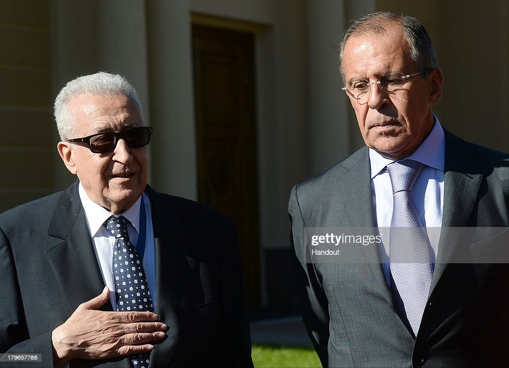 In this handout image provided by Host Photo Agency, Russian Foreign Minster Sergei Lavrov (R) and Lakhdar Brahimi, Joint Special Representative for Syria of the United Nations, speak to journalists after a meeting with foreign ministers of the G20 member states in Constantine Palace at the G20 Summit on September 6, 2013 in St. Petersburg, Russia. Leaders of the G20 nations made progress on tightening up on multinational company tax avoidance, but remain divided over the Syrian conflict as they enter the final day of the Russian summit.
