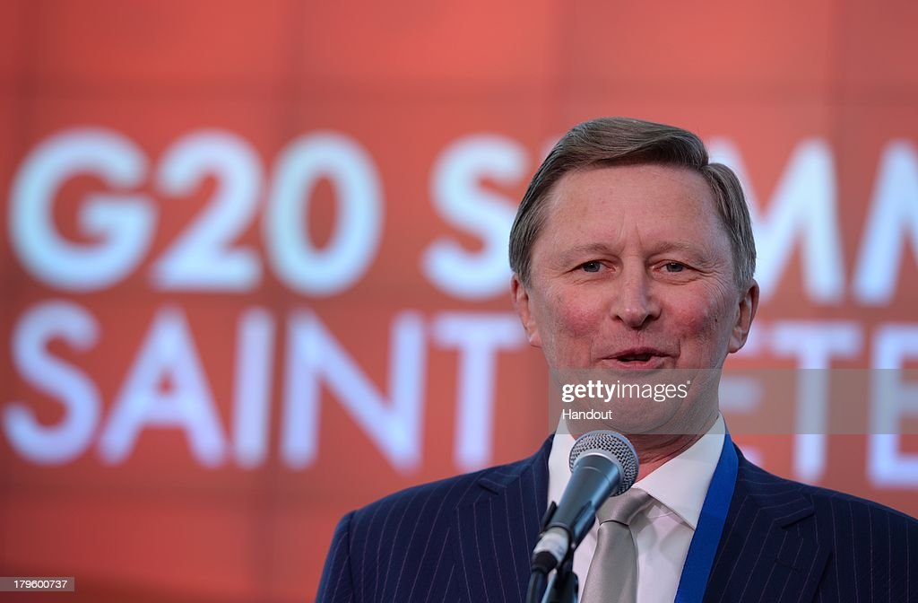 In this handout image provided by Host Photo Agency Sergei Ivanov Chief of Staff of the Russian Presidential Executive Office at the opening of the...