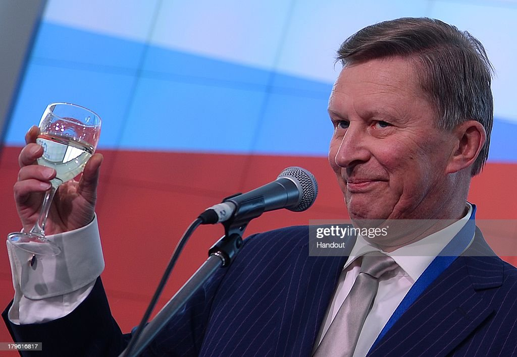 In this handout image provided by Host Photo Agency Sergei Ivanov chief of the Russian presidential executive office attends the opening of the...