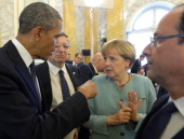 In this handout image provided by Host Photo Agency US President Barack Obama European Commission President Jose Manuel Barroso German Chancellor...