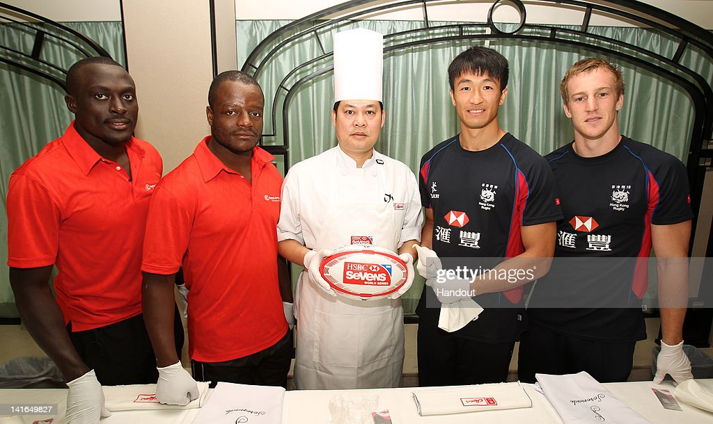 In this handout image provided by HSBC, Hong Kong players Salom Yiu kam-shing, Alex McQueen and Kenyan players Collins Injera and Benedict Nyambu go head to head in a Dim Sum making competition ahead of the HSBC Sevens World Series on March 21, 2012 in Hong Kong, China.