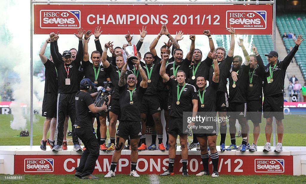 In this handout image provided by HSBC, New Zealand players celebrate winning the HSBC World Series during the HSBC Sevens World Series at Twickenham Stadium on May 13, 2012 in London, England.