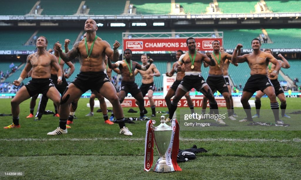 In this handout image provided by HSBC, New Zealand players do the Haka as they celebrate winning the HSBC World Series during the HSBC Sevens World Series at Twickenham Stadium on May 13, 2012 in London, England.