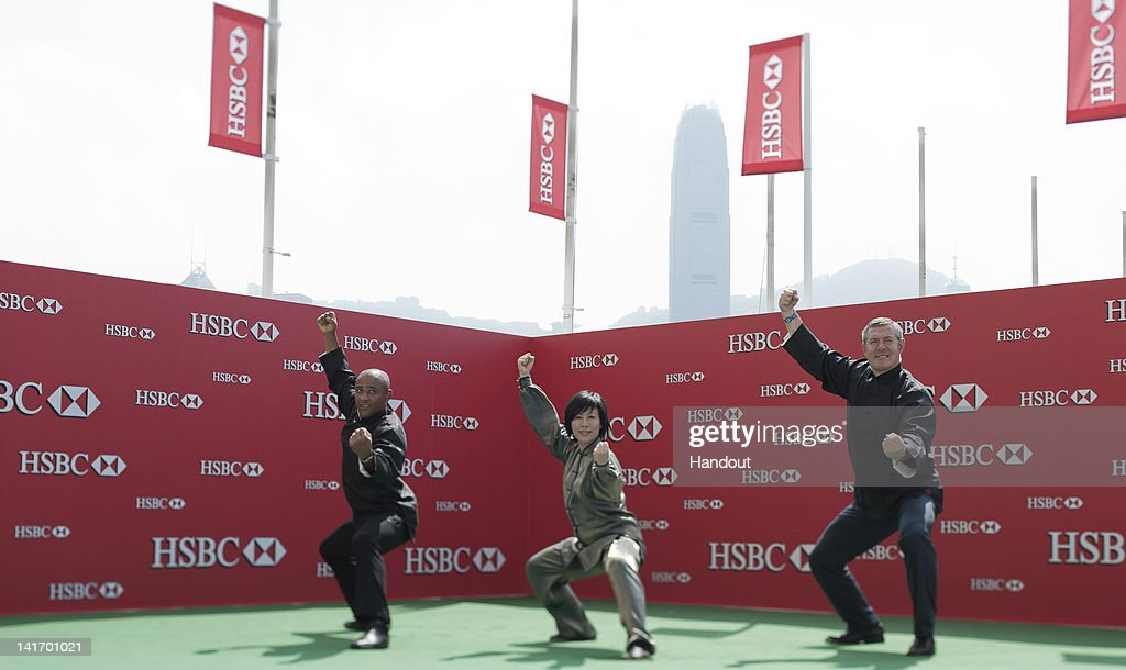In this handout image provided by HSBC, renowned Martial Arts Master Li Fai conducts a Tai Chi workshop today with HSBC Rugby Ambassadors Gavin Hastings and George Gregan ahead of the HSBC Sevens World Series to be held on March 23-25 2012 in Hong Kong, China.