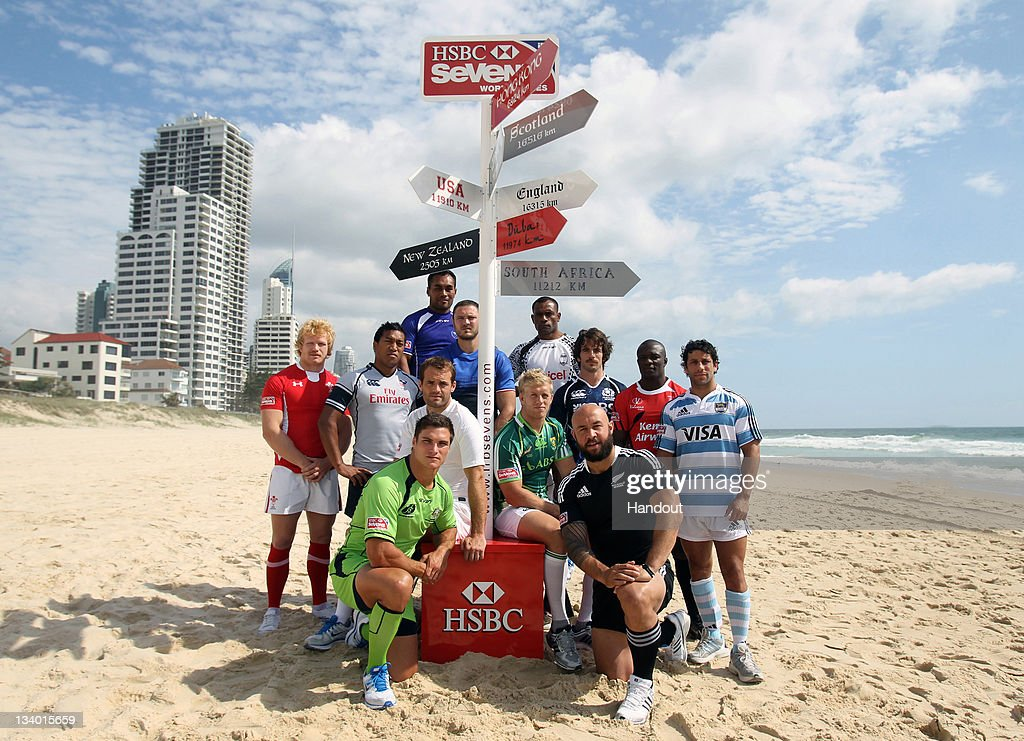 In this handout image provided by HSBC, The captains of the 12 core teams pose for a photo at Surfers Paradise beach ahead of the IRB HSBC Sevens World Series on November 23, 2011 in Gold Coast, Australia. (Photo by HSBC via Getty Images).