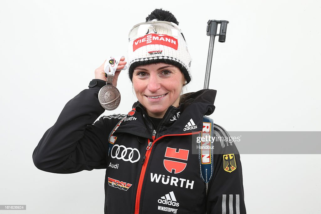 In this handout image provided by IBU, Andrea Henkel of Germany poses holding her silver medal after she took second place in the IBU Biathlon World Championships Women's 15km Individual on February 13, 2013 in Nove Mesto na Morave, Czech Republic.