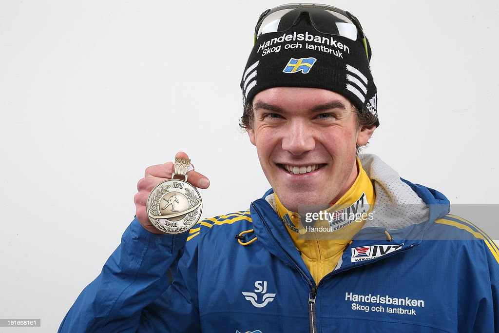 In this handout image provided by IBU, Fredrik Lindstroem of Sweden with his medal after the IBU Biathlon World Championships - Men's Distance, 20km Mens Individual on February 14, 2013 in Nove Mesto na Morave, Czech Republic.