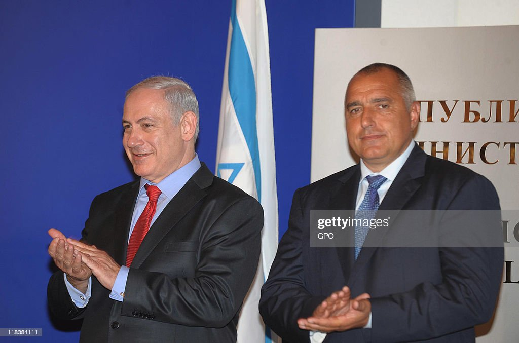 In this handout image provided by Israeli Government Press Office (GPO), Israel's Prime Minister <a gi-track='captionPersonalityLinkClicked' href=/galleries/search?phrase=Benjamin+Netanyahu&family=editorial&specificpeople=118594 ng-click='$event.stopPropagation()'>Benjamin Netanyahu</a> (L) attends a press conference with Bulgaria's Prime Minister <a gi-track='captionPersonalityLinkClicked' href=/galleries/search?phrase=Boyko+Borisov&family=editorial&specificpeople=5906164 ng-click='$event.stopPropagation()'>Boyko Borisov</a> (R) on July 7, 2011 in Sofia, Bulgaria. Israeli Prime Minister <a gi-track='captionPersonalityLinkClicked' href=/galleries/search?phrase=Benjamin+Netanyahu&family=editorial&specificpeople=118594 ng-click='$event.stopPropagation()'>Benjamin Netanyahu</a> is on a one day visit to Bulgaria as part of a tour of Eastern Europe.
