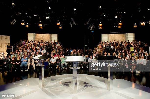 In this handout image provided by ITV1 audience members await the first televised general election debate between Gordon Brown of the Labour Party...