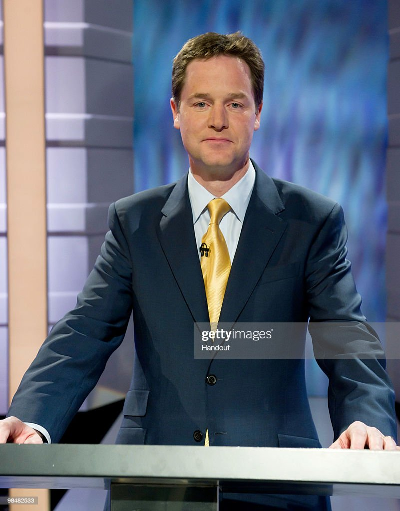 In this handout image provided by ITV1, Leader of the Liberal Democrats Party <a gi-track='captionPersonalityLinkClicked' href=/galleries/search?phrase=Nick+Clegg&family=editorial&specificpeople=579276 ng-click='$event.stopPropagation()'>Nick Clegg</a> takes part in the first televised general election debate between Gordon Brown of the Labour Party, David Cameron of the Conservative Party and <a gi-track='captionPersonalityLinkClicked' href=/galleries/search?phrase=Nick+Clegg&family=editorial&specificpeople=579276 ng-click='$event.stopPropagation()'>Nick Clegg</a> of the Liberal Democrat Party, at ITV1 North West base studios on April 15, 2010 in Manchester, England. Britain for the first time is televising three political debates live, reminiscent of the U.S. style of debates. Tonight is the first election debate, themed on domestic affairs, airing live on ITV1 from 8.30 pm to 10.00 pm and will be moderated by Alastair Stewart.