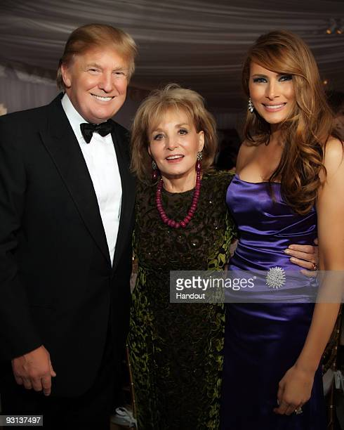 In this handout image provided by Ivanka Trump and Jared Kushner Donald Trump Barbara Walters and Melania Trump attend the Ivanka Trump and Jared...