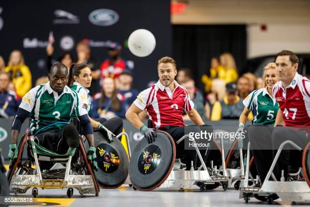 In this handout image provided by Jaguar Land Rover Derek Hough takes part in the Jaguar Land Rover celebrity wheelchair rugby exhibition match...