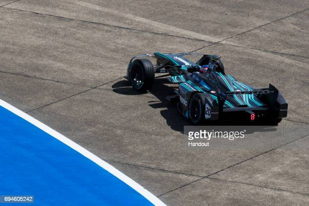 In this handout image provided by Jaguar Racing Mitch Evans in the Jaguar ITYPE during the Berlin ePrix seventh round of the 2016/17 FIA Formula E...