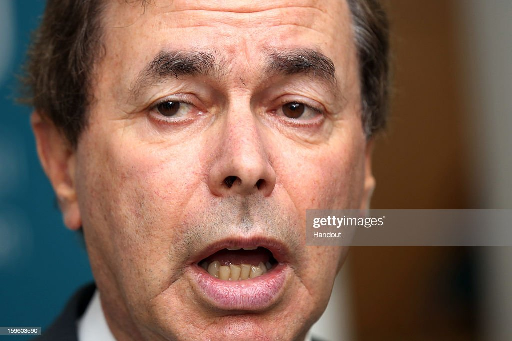 In this handout image provided by Justin MacInnes, <a gi-track='captionPersonalityLinkClicked' href=/galleries/search?phrase=Alan+Shatter&family=editorial&specificpeople=9457948 ng-click='$event.stopPropagation()'>Alan Shatter</a> TD, Minister for Justice, Equality and Defence talks to the media at the Informal Justice and Home Affairs Council meeting in Dublin Castle, on January 17, 2013 in Dublin, Ireland.