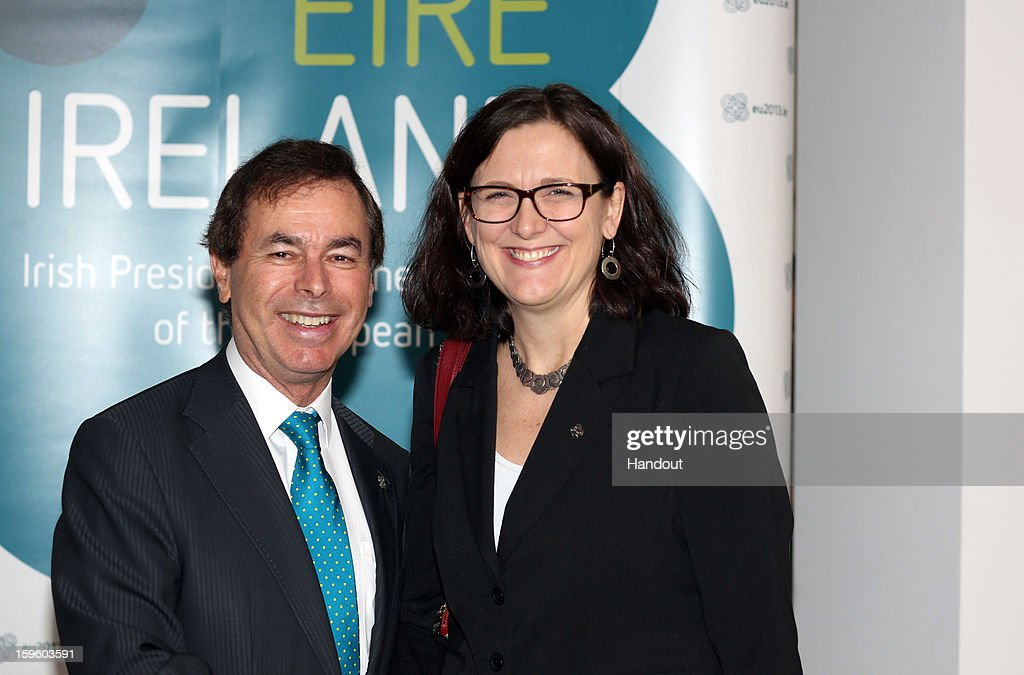 In this handout image provided by Justin MacInnes, <a gi-track='captionPersonalityLinkClicked' href=/galleries/search?phrase=Alan+Shatter&family=editorial&specificpeople=9457948 ng-click='$event.stopPropagation()'>Alan Shatter</a> TD, Minister for Justice, Equality and Defence (left) with Cecilia Malmström, EU Commissioner for Home Affairs, attend the Informal Justice and Home Affairs Council meeting in Dublin Castle, on January 17, 2013 in Dublin, Ireland.