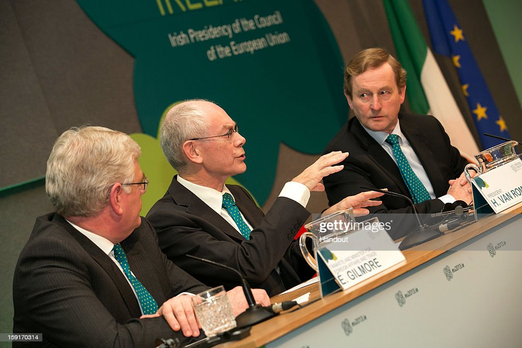 In this handout image provided by Justin MacInnes, Herman Van Rompuy, (C) President of the European Council with Tanaiste Eamon Gilmore (left) and Taoiseach Enda Kenny (right) in Dublin Castle on January 9, 2013 at the press conference promoting stability, jobs and growth in Europe during the European Council President's visit to Dublin, Ireland.