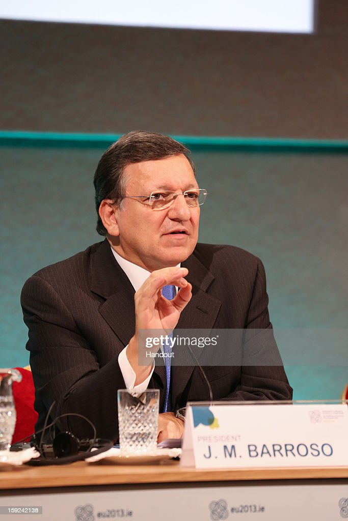 In this handout image provided by Justin MacInnes, Jose Manuel Barroso, President of the European Commission during a press conference at the meeting between the Irish Government and the College of Commissioners of the European Commission in Dublin Castle on January 10, 2013 in Dublin, Ireland.