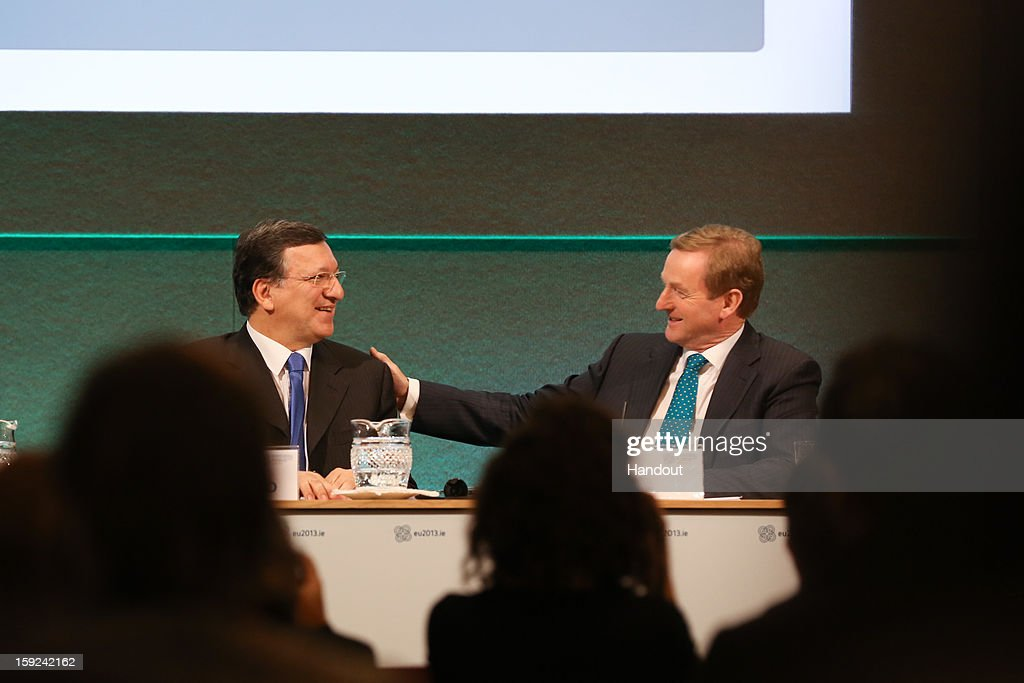 In this handout image provided by Justin MacInnes, Jose Manuel Barroso, President of the European Commission and Taoiseach Enda Kenny (R) during a press conference at the meeting between the Irish Government and the College of Commissioners of the European Commission in Dublin Castle on January 10, 2013 in Dublin, Ireland.