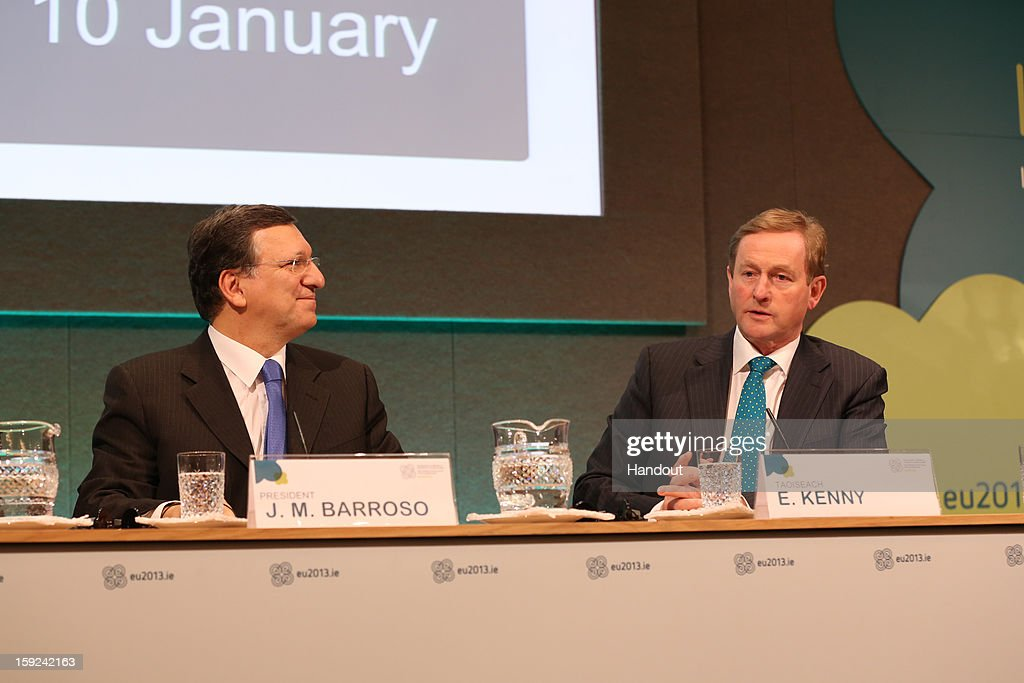 In this handout image provided by Justin MacInnes, Jose Manuel Barroso, President of the European Commission and Taoiseach <a gi-track='captionPersonalityLinkClicked' href=/galleries/search?phrase=Enda+Kenny&family=editorial&specificpeople=5129605 ng-click='$event.stopPropagation()'>Enda Kenny</a> (R) during a press conference at the meeting between the Irish Government and the College of Commissioners of the European Commission in Dublin Castle on January 10, 2013 in Dublin, Ireland.