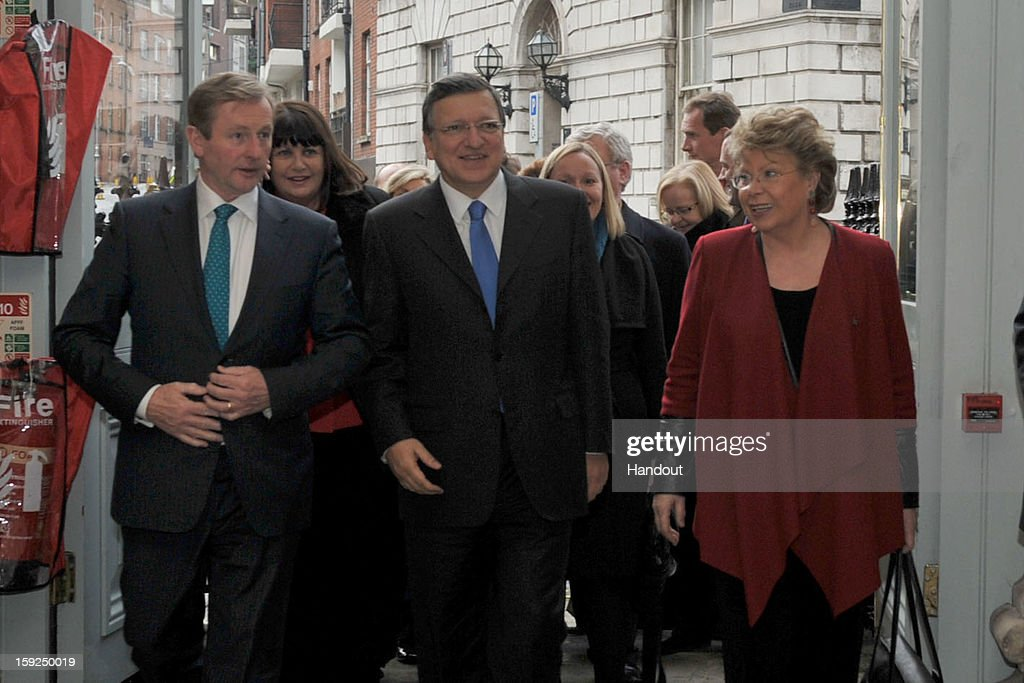 In this handout image provided by Justin MacInnes, Jose Manuel Barroso (C), President of the European Commission with Taoiseach Enda Kenny (L) and Viviane Reding, Vice-President of the European Commission attend the launch of the European Year of Citizens 2013 at Dublin City Hall on January 10, 2013 in Dublin, Ireland. 200 Irish citizens and many more online had the chance to tell Viviane Reding, Vice-President of the European Commission and Lucinda Creighton, Minister of State for European Affairs just what they think about the EU.