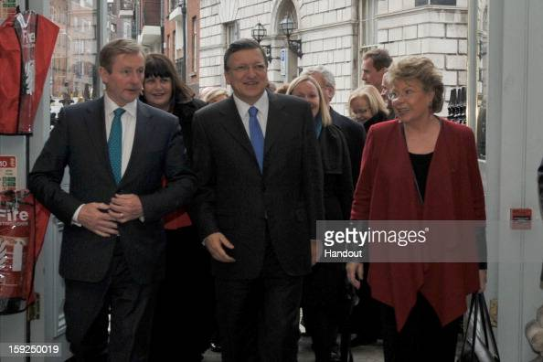 In this handout image provided by Justin MacInnes Jose Manuel Barroso President of the European Commission with Taoiseach Enda Kenny and Viviane...