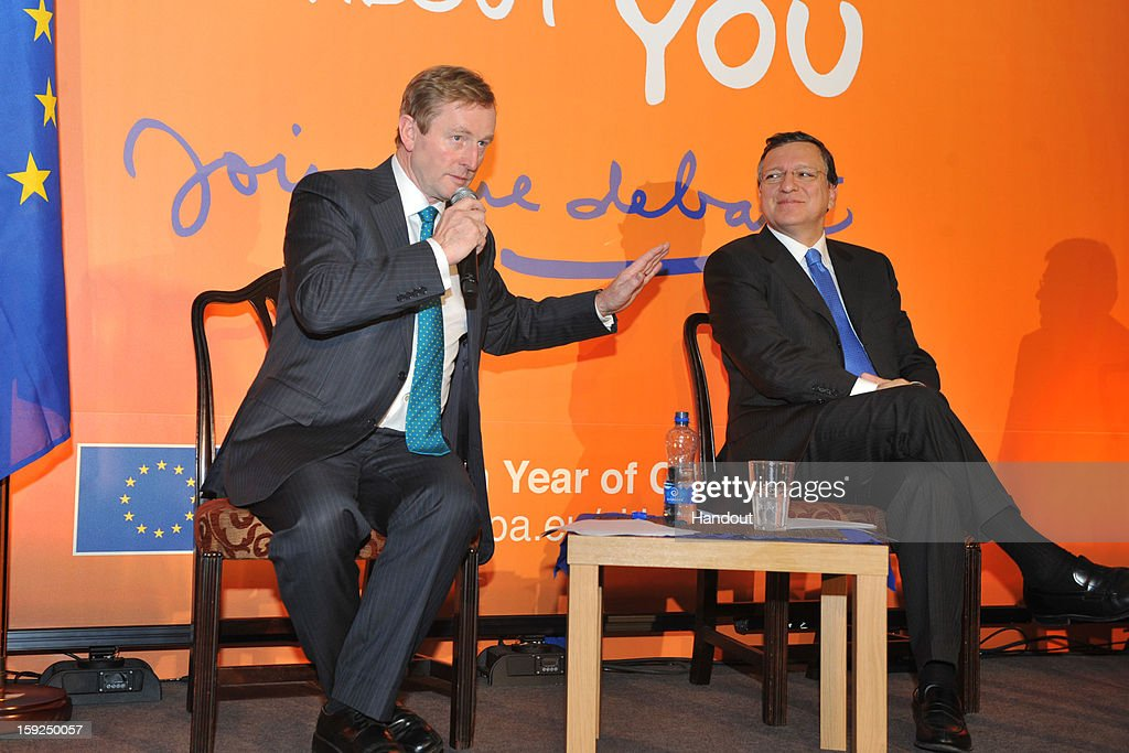 In this handout image provided by Justin MacInnes, Jose Manuel Barroso (R), President of the European Commission with Taoiseach Enda Kenny attend the launch of the European Year of Citizens 2013 at Dublin City Hall on January 10, 2013 in Dublin, Ireland. 200 Irish citizens and many more online had the chance to tell Viviane Reding, Vice-President of the European Commission and Lucinda Creighton, Minister of State for European Affairs just what they think about the EU.