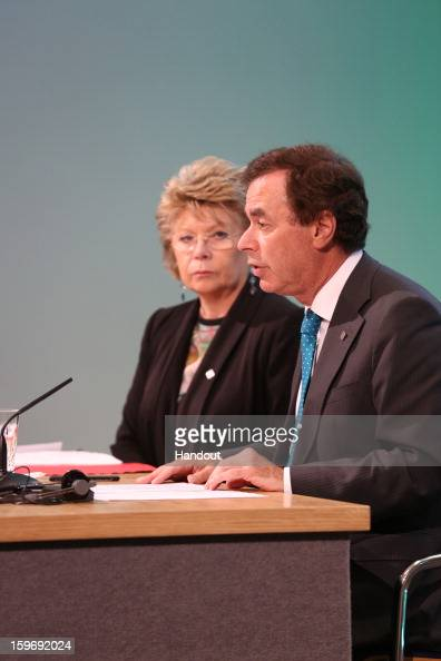 In this handout image provided by Justin MacInnes Minister for Justice Equality and Defence Alan Shatter and Viviane Reding Vice President of the...