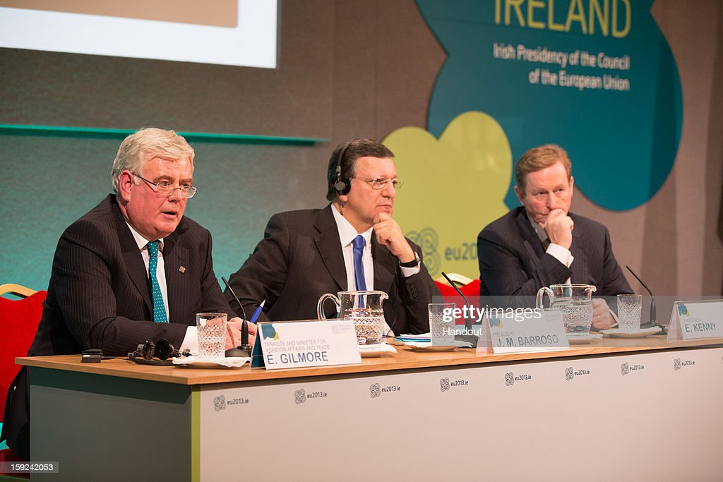 In this handout image provided by Justin MacInnes, Tánaiste <a gi-track='captionPersonalityLinkClicked' href=/galleries/search?phrase=Eamon+Gilmore&family=editorial&specificpeople=7484923 ng-click='$event.stopPropagation()'>Eamon Gilmore</a> (L), <a gi-track='captionPersonalityLinkClicked' href=/galleries/search?phrase=Jose+Manuel+Barroso&family=editorial&specificpeople=551196 ng-click='$event.stopPropagation()'>Jose Manuel Barroso</a>, President of the European Commission and Taoiseach <a gi-track='captionPersonalityLinkClicked' href=/galleries/search?phrase=Enda+Kenny&family=editorial&specificpeople=5129605 ng-click='$event.stopPropagation()'>Enda Kenny</a> (R) during a press conference at the meeting between the Irish Government and the College of Commissioners of the European Commission in Dublin Castle on January 10, 2013 in Dublin, Ireland.