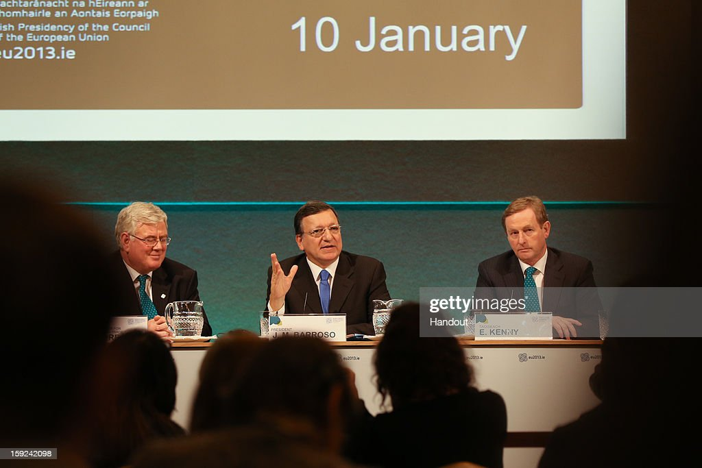 In this handout image provided by Justin MacInnes, Tánaiste Eamon Gilmore (L), Jose Manuel Barroso, President of the European Commission and Taoiseach Enda Kenny (R) during a press conference at the meeting between the Irish Government and the College of Commissioners of the European Commission in Dublin Castle on January 10, 2013 in Dublin, Ireland.