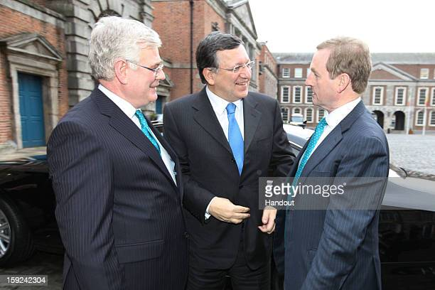 In this handout image provided by Justin MacInnes Tánaiste Eamon Gilmore Jose Manuel Barroso President of the European Commission and Taoiseach Enda...