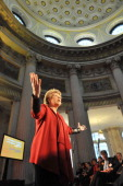 In this handout image provided by Justin MacInnes Viviane Reding VicePresident of the European Commission attends the launch of the European Year of...