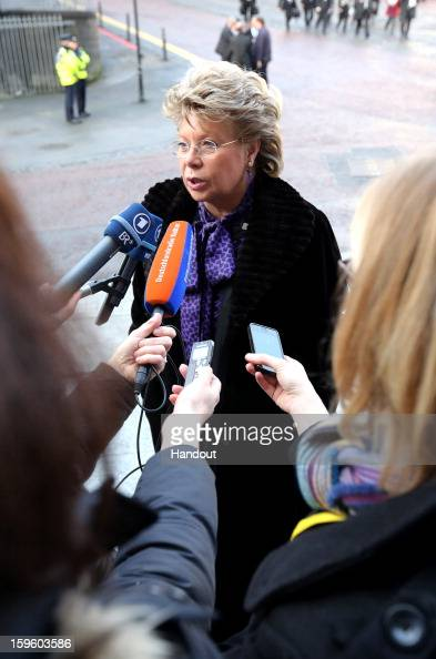 In this handout image provided by Justin MacInnes Viviane Reding Vice President of the European Commission is interviewed as she arrives at the...