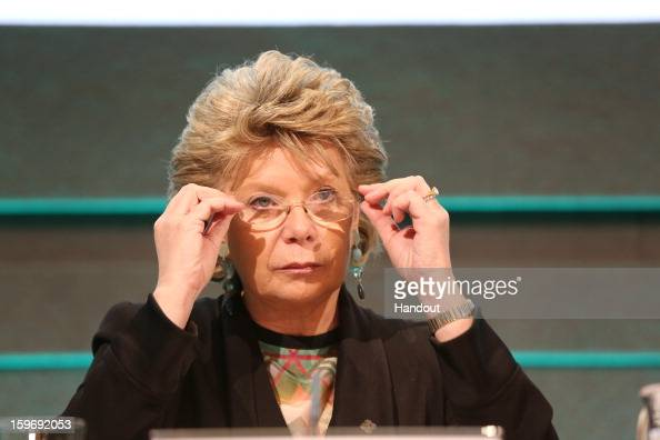 In this handout image provided by Justin MacInnes Viviane Reding Vice President of the European Commission speaks at the press conference of the...