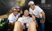LANKA NOVEMBER 4 In this handout image provided by Laureus Sir Ian Botham poses with Sourav Ganguly and Sunil Gavaskar before the fourth day of...
