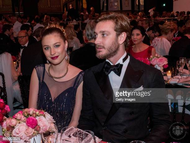 In this handout image provided by Le Palais Princier Beatrice Borromeo and Pierre Casiraghi attend a dinner during the Rose Ball 2017 To Benefit The...