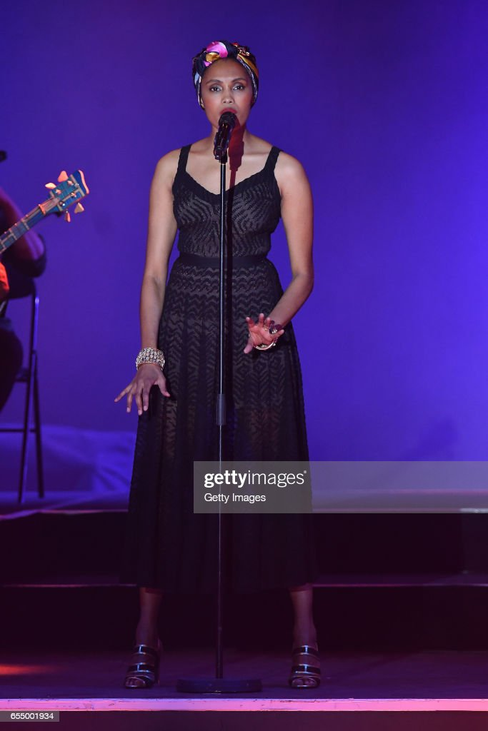 In this handout image provided by Le Palais Princier, Imany performs on stage during Rose Ball 2017 To Benefit The Princess Grace Foundation at Sporting Monte-Carlo on March 18, 2017 in Monte-Carlo, Monaco.