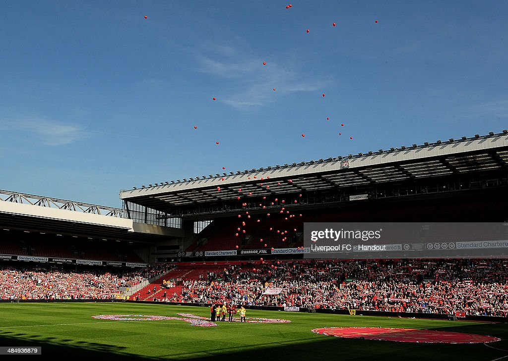 In this handout image provided by Liverpool FC, 96 balloons are released during the 25th Hillsborough Anniversary Memorial Service at Anfield on April 15, 2014 in Liverpool, England.